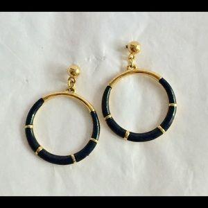 Vintage gold black dangle earrings